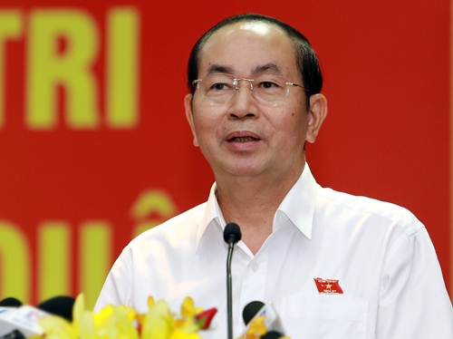 Chủ tịch nước Trần Đại Quang trả lời các ý kiến của cử tri TP HCM. Ảnh: Thiên Ngôn