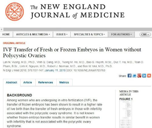 Bài báo của TS Lan và cộng sự được đăng trên tạp chí The New England Journal of Medicine.