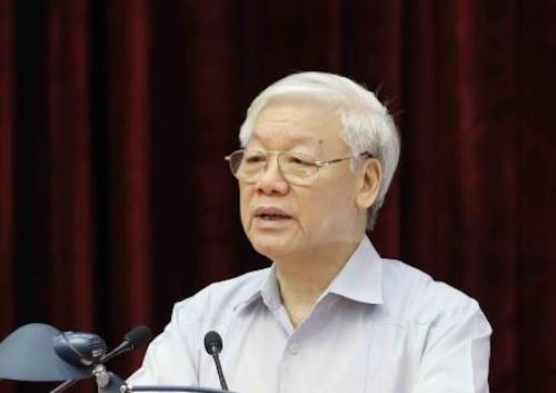Tổng bí thư Nguyễn Phú Trọng phát biểu bế mạc hội nghị toàn quốc về công tác phòng, chống tham nhũng. Ảnh: VGP