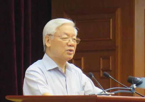 Tổng bí thư Nguyễn Phú Trọng phát biểu tại Hội nghị toàn quốc về công tác phòng, chống tham nhũng. Ảnh:TTX