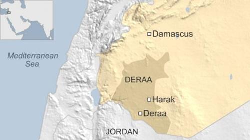 Vị trí tình Darra (Deraa), Syria. Đồ họa: BBC.