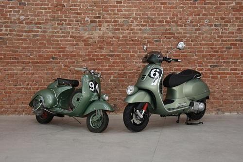 Vespa Sei Giorni (bên phải) được sản xuất để kỉ niệm chiến thắng của dòng xe Vespa tại giải đua năm 1951. Ảnh: Motociclistmo.