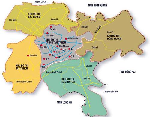 Phần màu xanh của khu đô thị Nam Sài Gòn đang chịu ảnh hưởng của mùi hôi.
