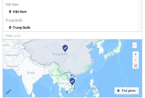 Bản đồ trong mục chạy quảng cáo của Facebook đã sửa lại thông tin sai lệch trước đó. Ảnh: Google map