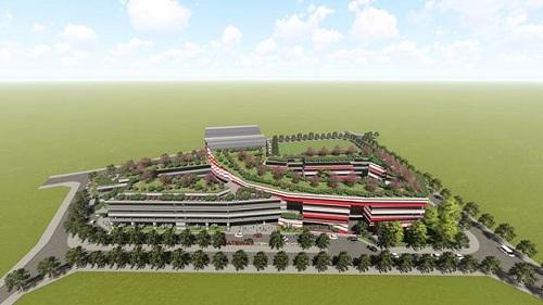 Hình phối cảnh khuôn viên trường phổ thông liên cấp quốc tế Gateway.