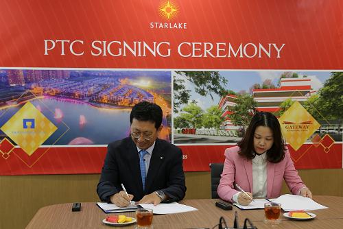 Đại diện tập đoàn giáo dục Edufit và công ty TNHH phát triển THT ký kết thỏa thuận xây dựng trường.