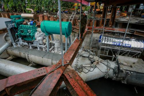 Máy bơm khủng chống ngập cho khu vực đường Nguyễn Hữu Cảnh có công suất lên đến 97.000 m3 mỗi giờ. Ảnh: Thành Nguyễn