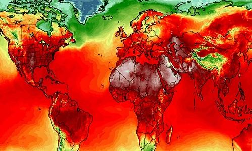 Bản đồ nhiệt thế giới hôm 4/7. Ảnh:Climate Reanalyzer.