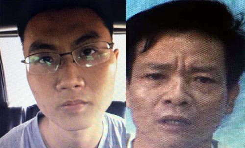 Nam (trái)- người trực tiếp nóm quả nổ vào công an phường 12 và Giang.