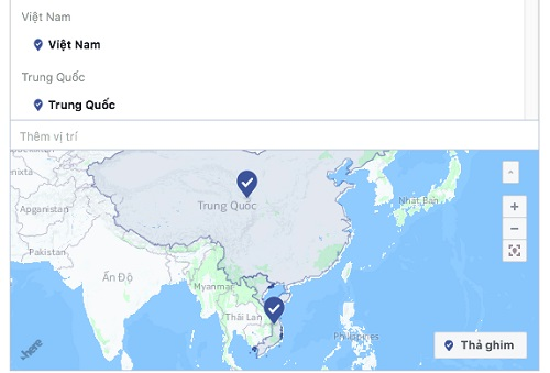 Bản đồ trong mục chạy quảng cáo của Facebook đã sửa lại thông tin sai lệch trước đó.