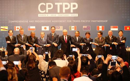 Đại diện 11 nước ký CPTPP ở Chile hồi tháng 3/2018. Ảnh: Reuters.