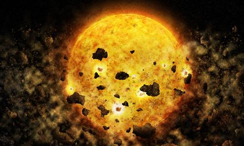 """Minh họa quá trình ngôi sao trẻ RW Aur A """"nuốt"""" mảnh vụn của hành tinh. Ảnh: NASA/CXC/M.Weiss."""