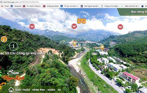 Cổng thông tinthực tế ảo du lịch vùng sâm Ngọc Linh. Ảnh: Đắc Thành.