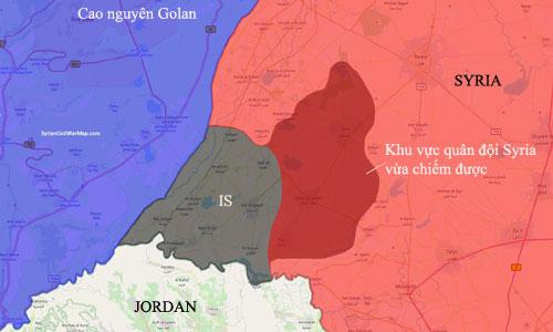 Phiến quân IS chỉ còn kiểm soát một khu vực nhỏ nằm giữa biên giới Jordan và Cao nguyên Golan. Đồ họa: SyrianCivilWarMap.