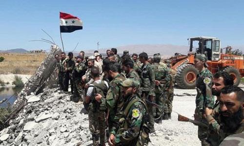 Quân đội Syria tại một vị trí vừa chiếm lại từ tay IS. Ảnh:Almasdar News.