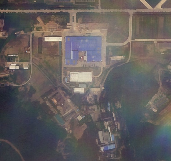 This commercial satellite image shows North Koreas Sanumdong missile assembly facility south of Pyongyang on July 7. The red vehicle in the inner courtyard is similar to those used by North Korea to transport missiles. (Planet/James Martin Center for Nonproliferation Studies at the Middlebury Institute of International Studies)