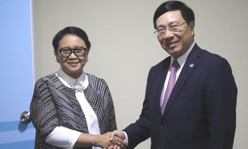 Phó thủ tướng Việt Nam Phạm Bình Minh, phải, và Ngoại trưởng Indonesia Marsudi. Ảnh: Bộ Ngoại giao Việt Nam.
