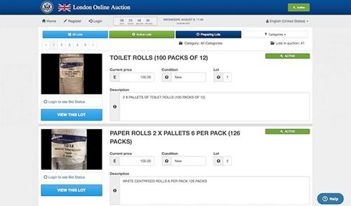 1.200 cuộn giấy toilet được rao bán trên trang đấu giá của sứ quán Mỹ tại London. Ảnh: US State Department