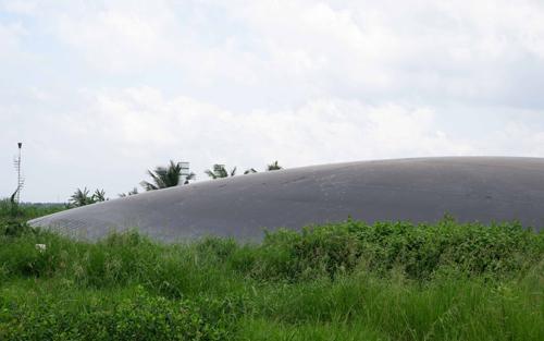 Hầm biogas khổng lồ phủ bạt HDPE để sản xuất điện từ chất thải của lợn tại trang trại. Ảnh: Bizmedia