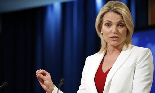 Phát ngôn viên Bộ Ngoại giao Mỹ Heather Nauert. Ảnh: Reuters.