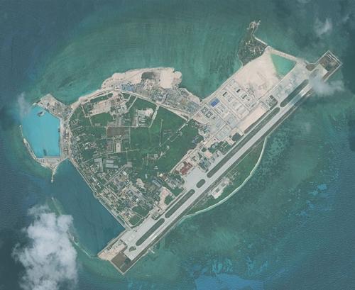 Ảnh vệ tinh chụp đảo Phú Lâm thuộc quần đảo Hoàng Sa của Việt Nam tháng 4/2016. Ảnh: Digital Globe.