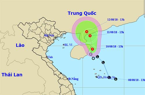 Dự báo đường đi và khu vực ảnh hưởng của áp thấp nhiệt đới. Ảnh: NHCMF