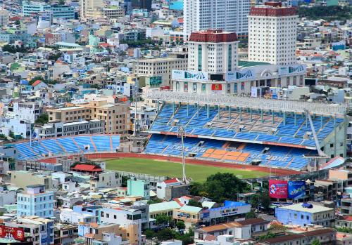 Sân vận động Chi Lăng nhìn từ trên cao. Ảnh: Nguyễn Đông.