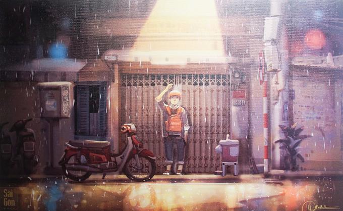 Nhịp sống Sài Gòn trong mưa qua ảnh triển lãm