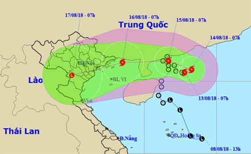 Ảnh đường đi của bão Bebinca lúc 9h ngày 13/8. Ảnh: NCHMF.