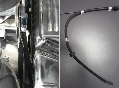 Ống nối lên khoang động cơ của một xe GLC làm ở xưởng dịch vụ bên ngoài (trái) và ống nối chính hãng (phải).
