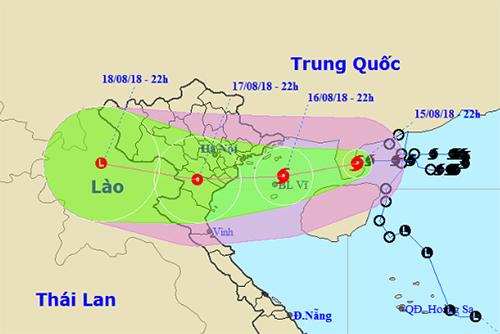 Dự báo đường đi và khu vực ảnh hưởng của bão Bebinca. Ảnh: NCHMF.