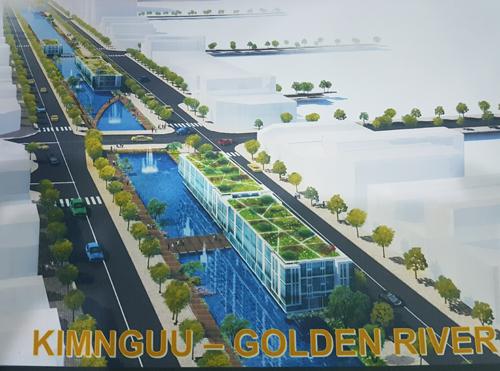 Phối cảnh dự án cải tạo đoạn sông Kim Ngưu của đơn vị tư vấn. Ảnh: Võ Hải.