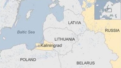 Ba Lan nằm ngay sát vùng lãnh thổ Kaliningrad của Nga. Đồ họa: BBC.