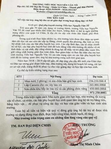 Thư kêu gọi hỗ trợ hơn 900 triệu đồng của Trường Tiểu học Nguyễn Văn Tố, Hải Phòng bị phụ huynh đưa lên mạng.