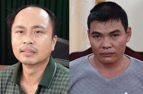 Ngân và Thiêm (từ trái qua) khi bị bắt giữ. Ảnh: Công an cung cấp.