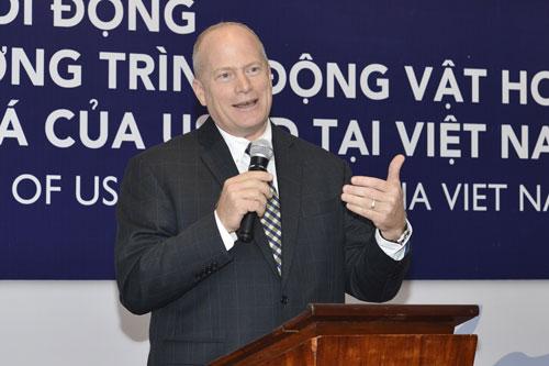 Quyền Phó Giám đốc USAID Việt Nam Craig Hart phát biểu tại sự kiện. Ảnh:USAID.