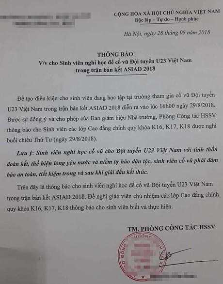 Công ty cho nghỉ làm, trường thông báo nghỉ học cổ vũ Olympic Việt Nam - 2