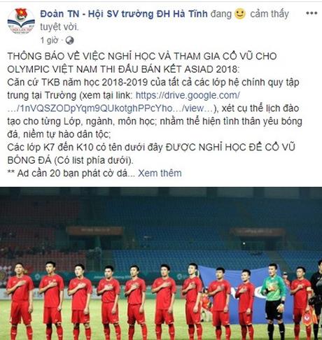 Công ty cho nghỉ làm, trường thông báo nghỉ học cổ vũ Olympic Việt Nam - 6