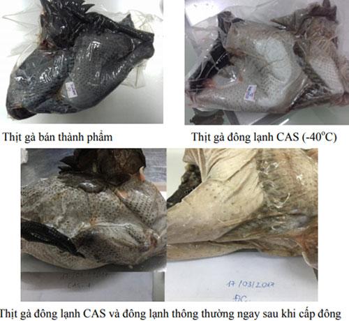 Thịt gà đông lạnh bảo quản bằng công nghệ CAS. Ảnh: T.H.