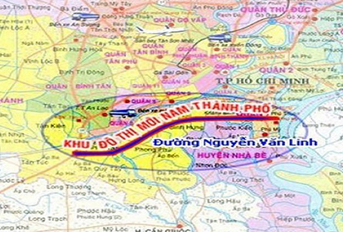 Bản đồ khu đô thị mới Nam thành phố. Ảnh: Ban quản lý khu Nam.