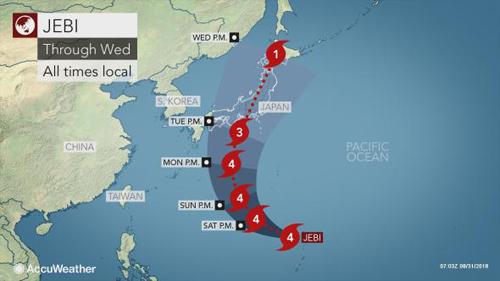 Sơ đồ hướng di chuyển của bão Jebi khi đổ bộ miền tây Nhật Bản. Đồ họa: Accu Weather.