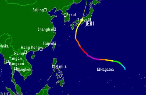 Bão Jebi đổ bộ vào Nhật Bản. Ảnh: vnbaolut.