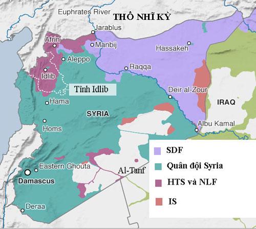 Tình hình kiểm soát lãnh thổ Syria đầu tháng 9/2018. Đồ hoa: Liveuamap.