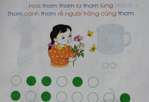 Lời được tách thành từng tiếng, mỗi tiếng được biểu thị bằng một ô vuông, theo phương pháp của sách Tiếng Việt Công nghệ Giáo dục.
