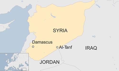 Vị trí khu vực Al-Tanf ở Syria. Đồ hoạ: BBC.