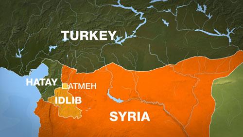 Tỉnh Idlib của Syria có biên giới giáp với tỉnh Hatay của Thổ Nhĩ Kỳ. Đồ họa:Al Jazeera