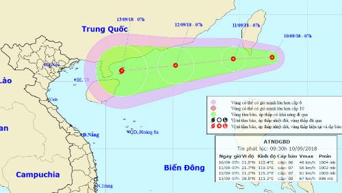 Vị trí và dự báo đường đi của áp thấp nhiệt đới lúc 9h ngày 10/9. Nguồn: NCHMF.