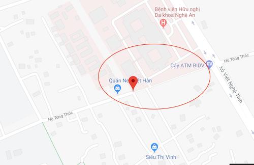 Bản đồ đường Hồ Tông Thốc (vòng tròn đỏ là đoạn đường hơn 22 m bị đóng để bàn giao mặt bằng).