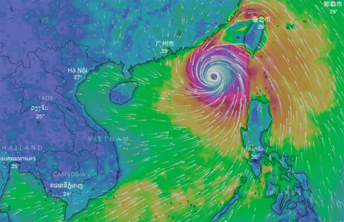 Dự báo cấp gió bão MANGKHU vào chiều 16/9. Nguồn: Windy.