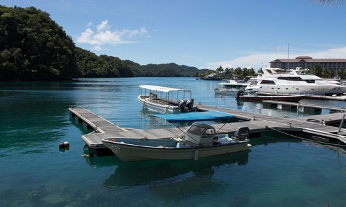 Tàu vắng khách neo đậu trên bến cảng ở Palau. Ảnh: Guardian.